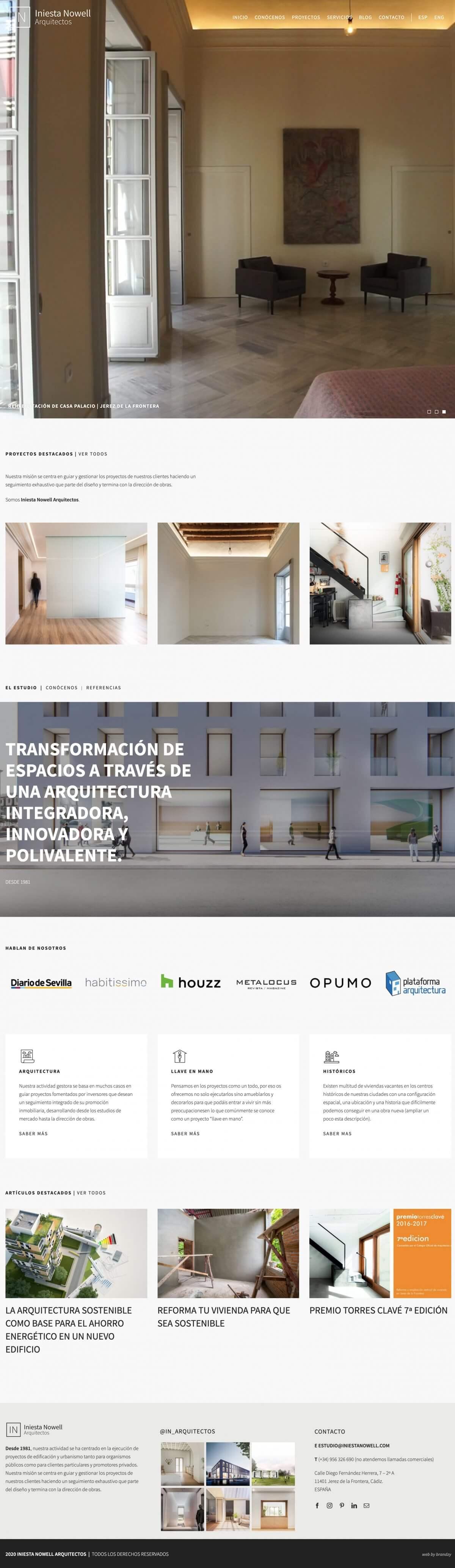 Desarrollo web para Iniesta Nowell Arquitectos